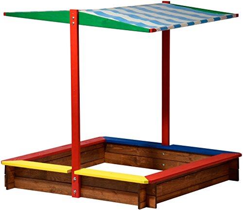 dobar 94355FSC - Bac à Sable en Bois avec Toit, Grand XL carré, Bac à Sable d'extérieur avec Parasol pour Enfants, 120 x 120 x 125 cm, Bois FSC, Multicolore