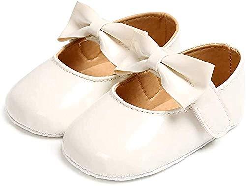Ballerine Bambina Scarpe Primi Passi Antiscivolo Principessa Bowknot Neonata Bianco 6-12 Mesi