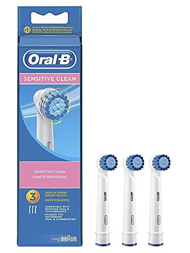 Oral-B Sensitive Clean, Recharges pour Brosse à Dents électrique Rechargeable, Paquet de 3 (2 sensitive clean, 1 sensi ultrathin) [modèle assorti]