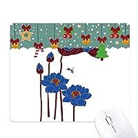 青い蓮の葉の植物ハスの花のトンボ ゲーム用スライドゴムのマウスパッドクリスマス
