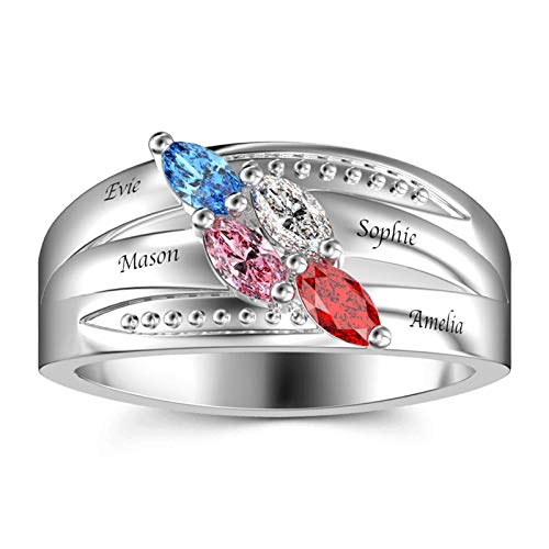 Anillo de nombre DIY personalizado 4 anillos de piedra natal anillo familiar anillo de plata esterlina 925 Navidad para madre(Plata 22.5)