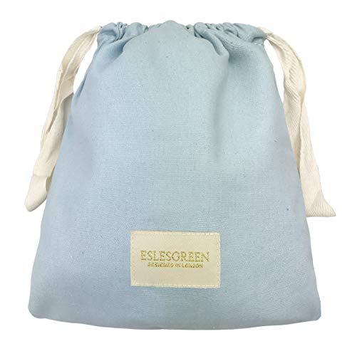 ESLESGREEN Bolsa algodón orgánico para mudas - Bolsa para merienda - Bolsa Primera Puesta - Bolsa Infantil para guardería (Blue)