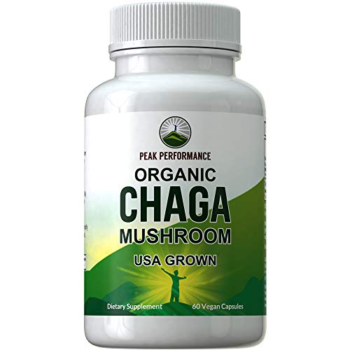 Organic Chaga Mushroom Capsules (USA Grown) by Peak Performance. Naturally Harvested Mushrooms Extract in Vegan Capsule. Immune, Energy Boost, Antioxidant, Beta Glucan Rich Supplement 60 Pills