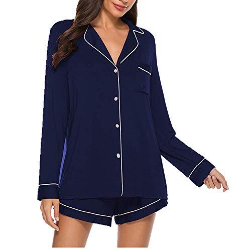 U/A Shorts mit langen Ärmeln, sexy, bequem, einfach zu Hause Gr. X-Large, blau
