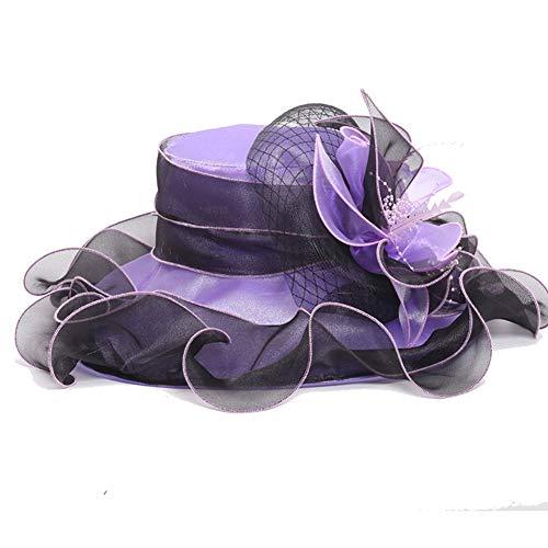 TBATM Mujeres Wide Brim Organza Sombrero De Flor + Sombrero, Sombrero De Boda De Doble Uso para Cóctel De Boda Té Fiesta Fiesta Cóctel Fiesta De Cóctel Iglesia,B
