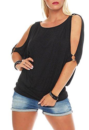 Malito Damen Bluse Kurzarm | Tunika mit breitem Bund | Blusenshirt im Casual Look | Elegant - Shirt 3309 (schwarz)