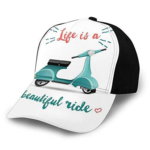 FULIYA Gorra de béisbol con diseño de hip hop, Life is a Beautiful Ride Cotización con un scooter en azul y corazones, sombrero de playa de pescador, protección solar morado para hombres y mujeres