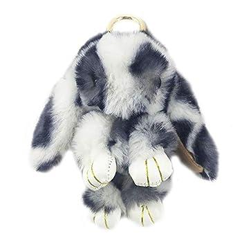 Bunny Keychain Large Cute Rex Rabbit Faux Fur Key chain Car Handbag Keyring Leopard,Light gray