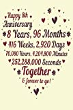 8 Years Of Marriage/happy anniversary: 8th Wedding Anniversary Celebrating, Marriage Anniversary Notebook Journal, Married for 8 Years Wedding duo diary, Sweet Memories Notebook Card Alternative