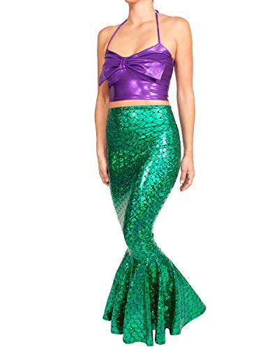 Sidecca Faux Leather Wet Look Metallic Mermaid Costume Maxi Skirt-Holo Kelly-S