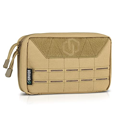 Savior Equipment Laser-Cut Style MOLLE Tactical Admin EDC Pouch Military Waist Belt Modular Utility Tools Bag Organizer, Ideal for Outdoor Sports Survival