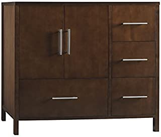 RONBOW Essentials Juno 36 Inch Bathroom Vanity Cabinet Base in Dark Cherry Finish, with Soft Close Wood Doors on Left and Full Extension Drawers 039236-3L-H01