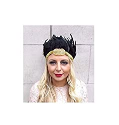 Stunning vintage style feather headdress This headpiece is stunning! Featuring real black iridescent feathers, gold glittering headband and gold seed beading with black elasticated panel to fit. The exact size, shape and shade of the feathered sectio...