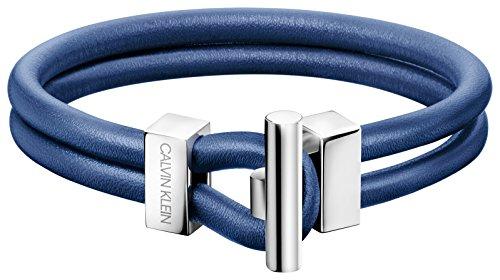 Calvin Klein Pulsera Hombre Piel Azul Anchor acero PVD Mis.22kj8wlb09010l