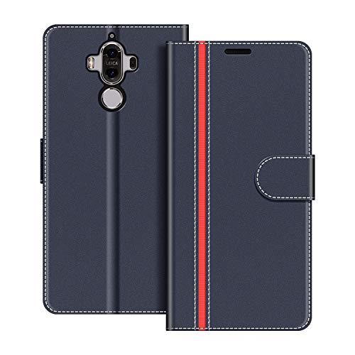 COODIO Handyhülle für Huawei Mate 9 Handy Hülle, Huawei Mate 9 Hülle Leder Handytasche für Huawei Mate 9 Klapphülle Tasche, Dunkel Blau/Rot