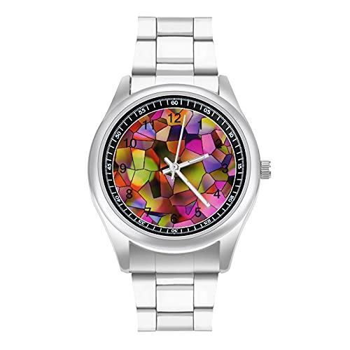 Resumen polígono fondo texturas patrón simple banda de acero reloj señoras hombres verano mecánico nuevo diseño dial grande simple moda