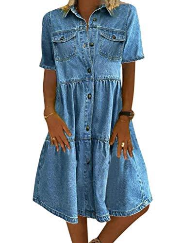 Jeanskleid Sommerkleid Damen Jeans Kleider V-Ausschnitt Kurzarm Strandkleider Einfarbig A-Linie Kleid Boho Knielang Kleid Denimkleid (Dunkelblauer Kurzschluss, L)