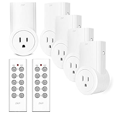 Etekcity Remote Control Outlet Wireless Light Switch for Household Appliances, Unlimited Connections, FCC ETL Listed, White (5Rx-2Tx)