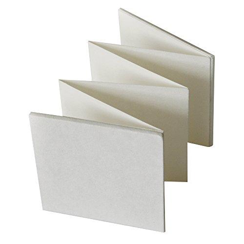 Rayher 8189100 Leporello, weiß, 13,5 x 13,5 cm, Faltbuch mit zwei Satinbändern zum Zubinden, 6teilig, 12 Seiten weiß, blanko, zum Gestalten, inklusiv verstärkter Vorder- und Rückseite