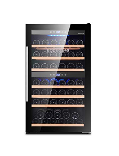 BODEGA43-66 Weinklimaschrank - Weinkühlschrank mit 2 Temperaturzonen, 5-20 ºC, 195 Liter, 66 Flaschen, 7 Regaleinschübe, Vollglastür mit UV-Filter, Geräuscharm (41 dB) und sehr vibrationsarm, Schwarz