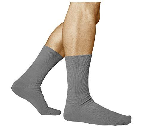 vitsocks Herren bequeme Socken ohne Gummib& Baumwolle (3x PACK) helfen bei Schwellungen, grau, 39-41