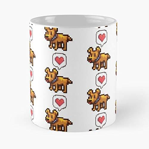 Puppers Pixel Video Town Stardewvalley Stardew Pelican Games Game Valley Dog Farm Best Taza de café de cerámica de 11 onzas