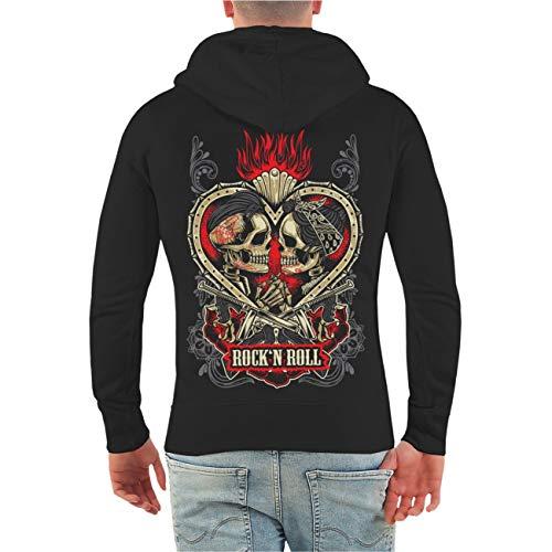 Spaß kostet Männer und Herren Kapuzenjacke Rockn Roll Rockabella Rockabilly (mit Rückendruck) Größe S - 10XL