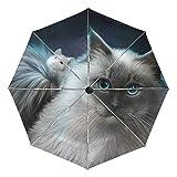 AOTISO Paraguas de Viaje Compacto con Apertura automática y Cierre con Gato y ratón