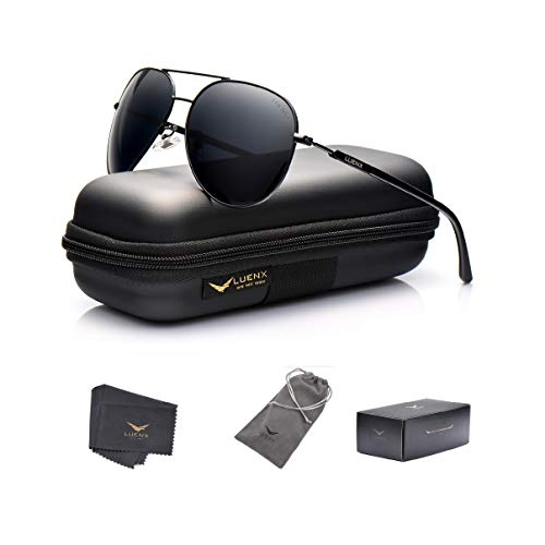 LUENX Aviator Sunglasses Mens Women Polarized Black Lens ...
