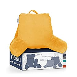Nestl Reading Pillow, Petite Bed Rest Pillow with Arms for Kids & Young Adults – Premium Shredded Memory Foam TV Pillow - Yellow