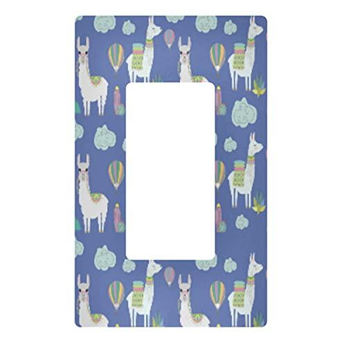 Placa de pared para interruptor de luz decorativa – Llama Alpaca Outlets Cubierta de placa de interruptor de 3 bandas para enchufes eléctricos para dormitorio, cocina, decoración del hogar