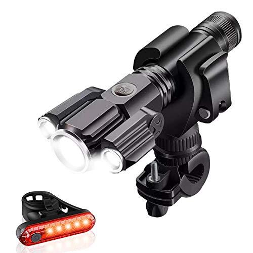 TTWEN Luci per Bicicletta Set, Luci Bici Ricaricabili USB Luce Bici Anteriore e Posteriore Super Luminoso e Impermeabile per Bici Strada