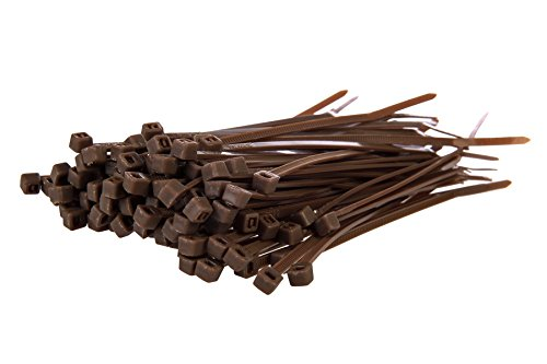 Gocableties Kabelbinder, 4,8 x 200 mm, 100 Stück, hochwertig, aus robustem Nylon, braun