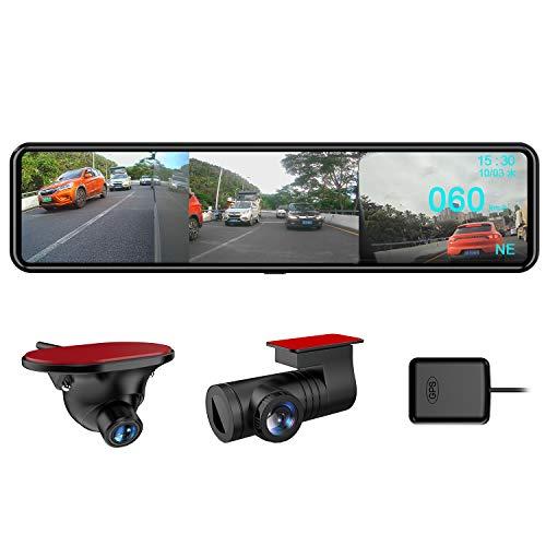 AKEEYO ドライブレコーダー ミラー型 12インチ 右側カメラ仕様 デジタルインナーミラー 長方形タイプ GPS搭...