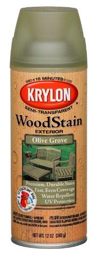 Krylon K03606000 Exterior Semi-Transparent Wood Stain, Olive Grove, 12 Ounce