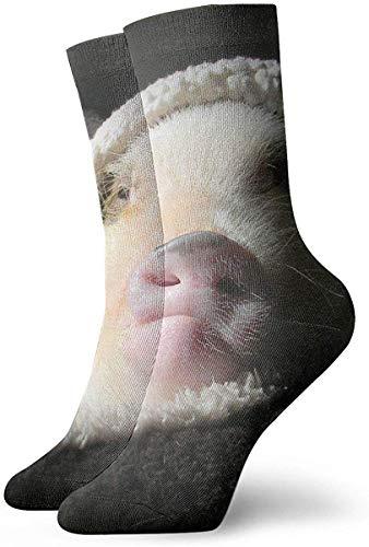 Ferkel mit Decke für Erwachsene, kurze Socken aus Baumwolle, lustige Socken für Herren, Damen, Yoga, Wandern, Radfahren, Laufen, Fußballsport