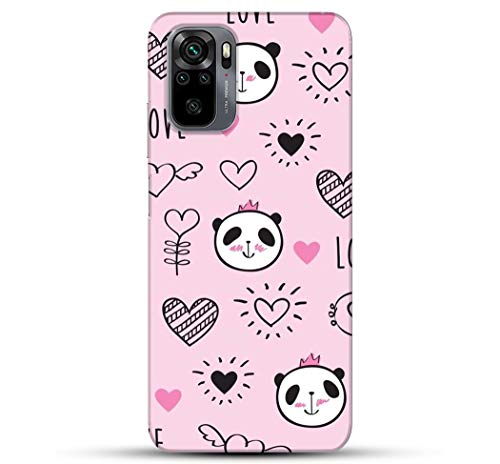 Pikkme Cute Black Panda Pink Heart Redmi Note 10 Pro Cover for Girls