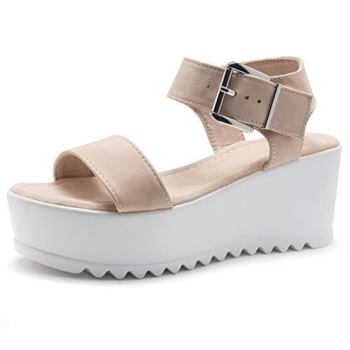Herstyle Carita Women's Open Toe Ankle Strap Platform Wedge Sandals Blush 7.0