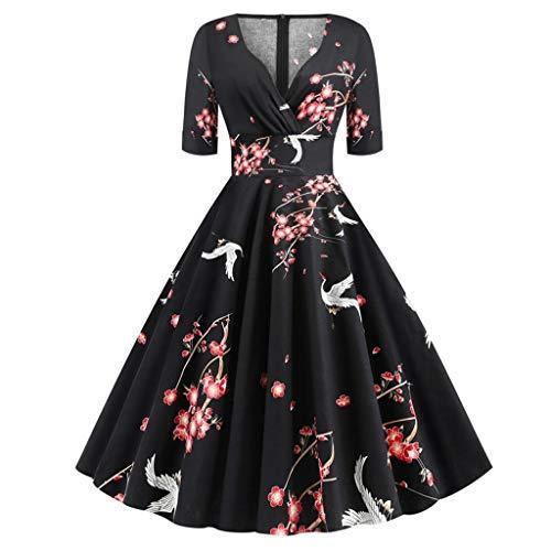 YWSZJ Vintage V-Ausschnitt Elegante Party Kleid Frauen Sommer Halbhülse Eine Linie Midi Kleider (Color : B, Size : M Code)