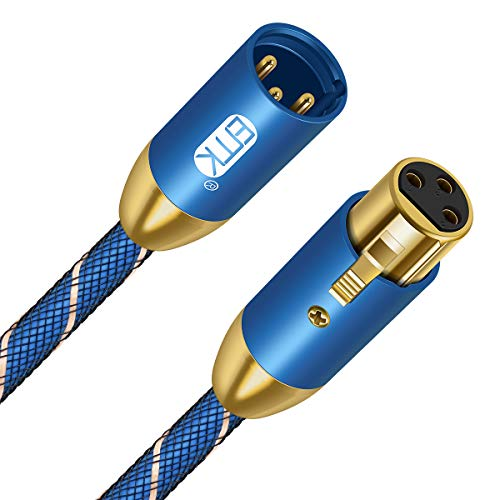 Cable XLR macho a hembra EMK XLR Cable de Extensión Trenzado Azul...
