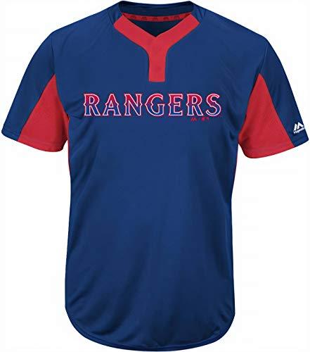 Majestic Texas Rangers Herren Trikot Premier Eagle Cool Base 2 Knöpfe, blau, Medium