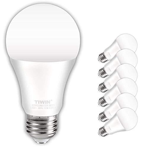 TIWIN LED Light Bulbs 100 watt equivalent (11W),Soft White (2700K), General Purpose A19 LED Bulbs,E26 Base,UL Listed, Pack of 6