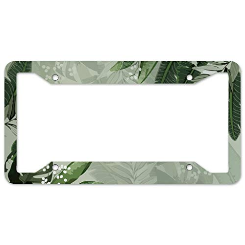 Bohohobo Floral Pattern License Plate Frame 4 Pieces Design License Plate Frame With 4Holes Fite For Man Cave white 16x31cm