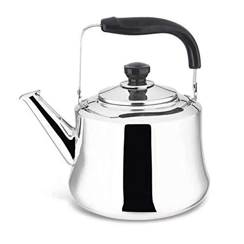 BBZZ Hervidor de té grueso de acero inoxidable de gran capacidad, adecuado para silbar hervidor en la parte superior de la estufa, hervidor de camping -x (color: plata, tamaño: 6L)