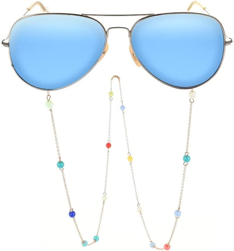 GYZX Lanyard for Glasses Colored Beaded Glasses Chain Glasses Strap Sunglasses Cords Casual Glasses Accessories (Color : A, Size : Length-70CM)