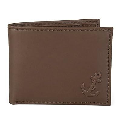 Nautica Men's Genuine Leather Bifold Passcase Wallet Brown