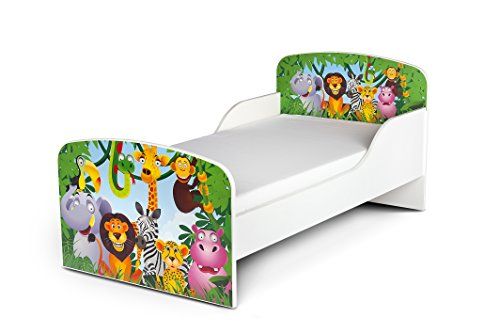 Leomark Cama Infantil Completa de Madera - Jirafa Elefante - Marco de Cama, Colchón, Somier, Blanco Muebles para Niños, Moderno Dormitorio, Impresa Mobiliario, Espacio para Dormir: 140/70 cm