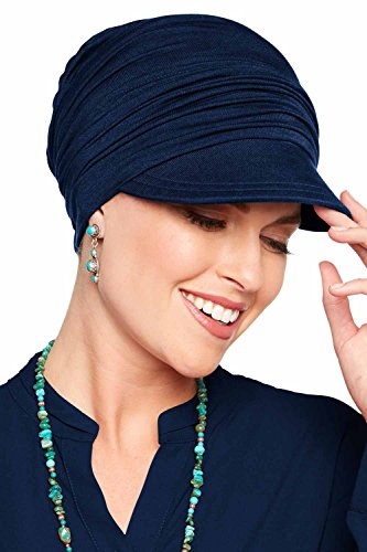 Bamboo Slouchy Newsboy Hat-Caps for Women with Chemo Cancer Hair Loss Luxury Bamboo - Midnight Blue