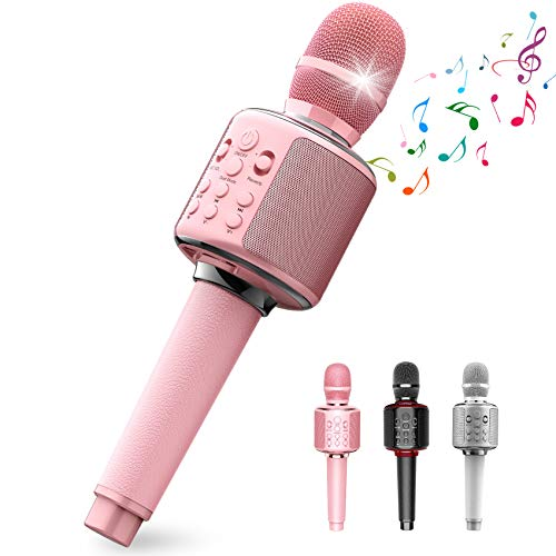 Wireless Bluetooth Karaoke Microphone,4-In-1 Leather Portable Handheld Singing Machine Speaker Professional Mic for Adult Teens Girls Kids Party Birthday Gift Toys for iPhone/PC,Duet Sing(Pink)