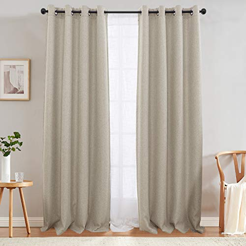 jinchan Linen Texture Curtains Light Reducing Grommet Top Drapes for Bedroom Living Room Window 2 Panels 90 Inches Length Greyish Beige